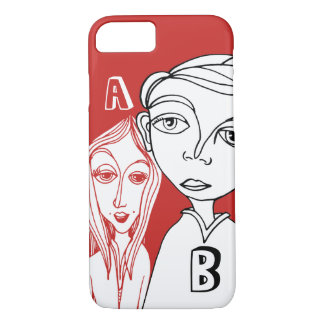 Doodle Couple & Two Personalized Letters iPhone 8/7 Case