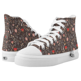 Doodle floral pattern on brown field high tops