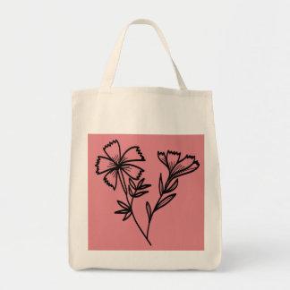 doodle floral grocery tote bag