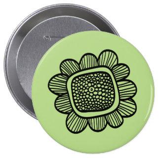 Doodle flower 10 cm round badge