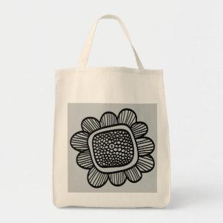 doodle flower grocery tote bag