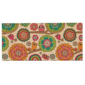 doodle flowers background pattern wood USB 2.0 flash drive