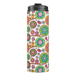 doodle flowers background pattern thermal tumbler