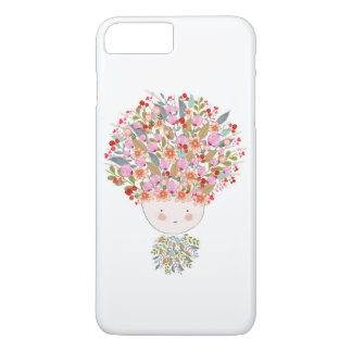 Doodle flowers beautiful girl face iPhone 8 plus/7 plus case