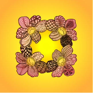 Doodle Flowers in Peach Orange and Gold Photo Cutouts