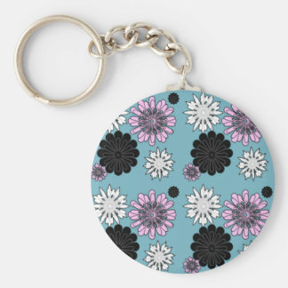 doodle flowers on blue background basic round button key ring