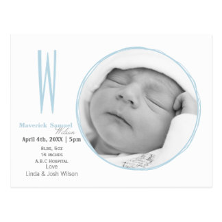 Doodle frame Monogram Blue Baby photo Announcement Postcard