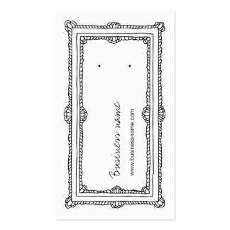 Doodle Frame White Vertical Earring Back Cards Business Card