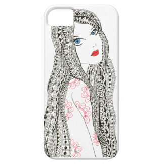 doodle girl with pattern hair iPhone 5 cover