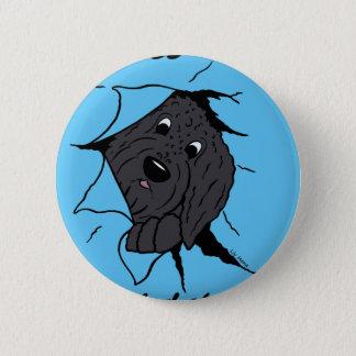 Doodle head black 6 cm round badge
