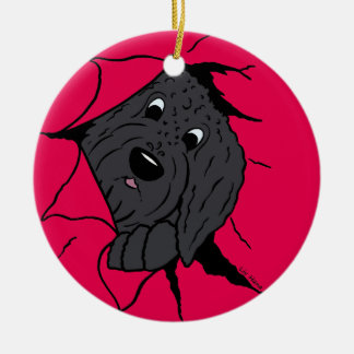 Doodle head black ceramic ornament