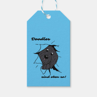 Doodle head black gift tags