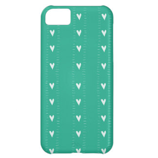 Doodle Hearts in Turquoise iPhone 5C Cases