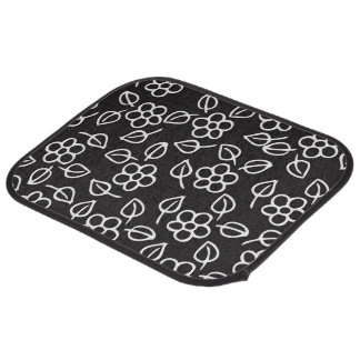 doodle leaves and flowers car mat
