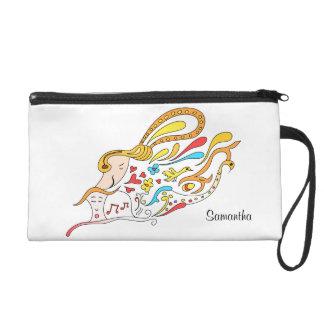 Doodle love wristlet purse