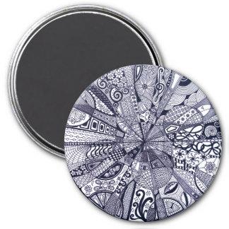 Doodle Mandala (black & white) Magnet