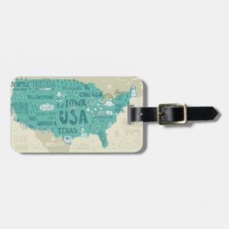 Doodle Map Of USA Bag Tag