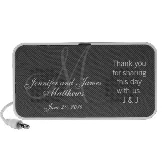 Doodle Monogram Thank You Wedding Favour Gifts Travel Speaker