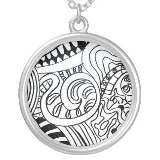 Doodle neck tied pendant