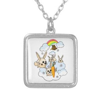 doodle square pendant necklace