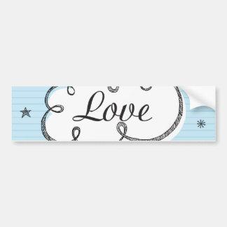 Doodle on School Paper Love Bumper Sticker