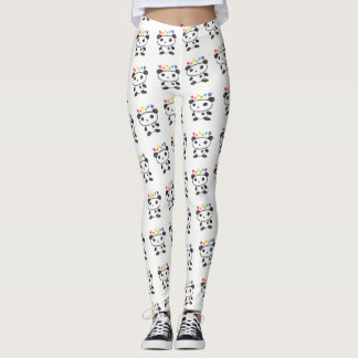 Doodle Panda Bear With Rainbow Hearts LGBT Pride Leggings