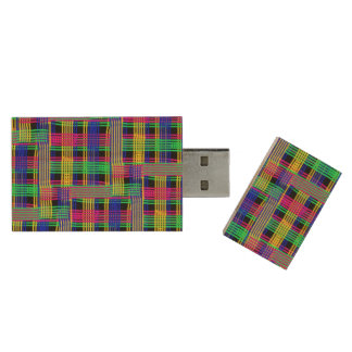 doodle Pattern Freedom Wood USB 2.0 Flash Drive