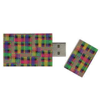 doodle Pattern Freedom Wood USB 2.0 Flash Drive