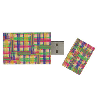 doodle Pattern Freedom white Wood USB 2.0 Flash Drive