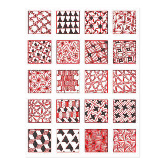 doodle patterns postcard