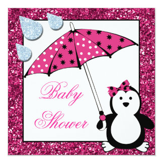 Doodle Penguin Girl Baby Shower 13 Cm X 13 Cm Square Invitation Card