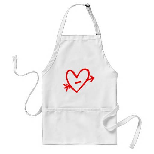 Doodle Red Cupid's Heart Aprons