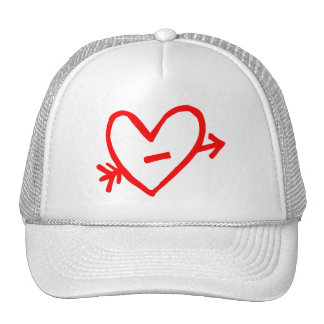Doodle Red Cupid's Heart Mesh Hats