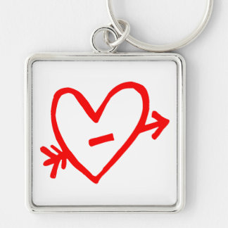 Doodle Red Cupid's Heart Silver-Colored Square Key Ring