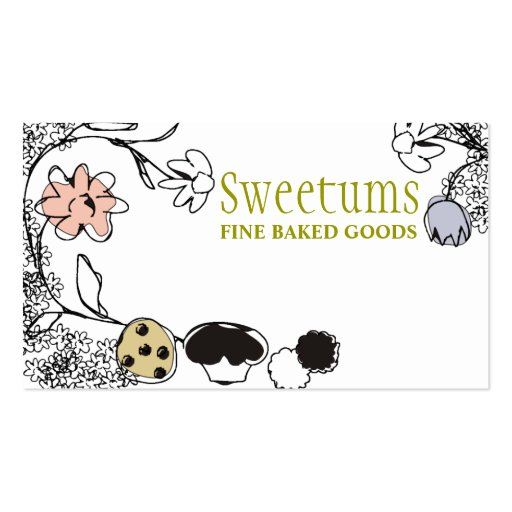 doodle sketch bakery sweets flowers business cards