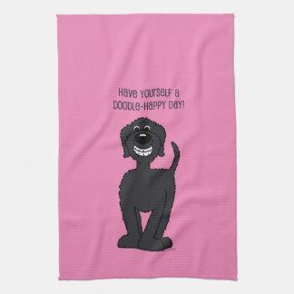 Doodle Smile black Tea Towel