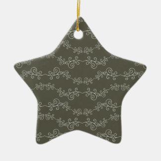doodle swirl ceramic star decoration