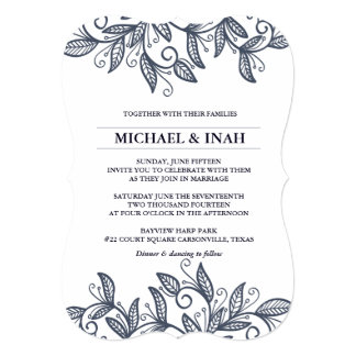doodle swirl leaves 5x7 paper invitation card