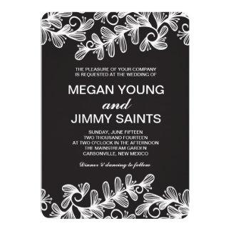 doodle swirl leaves custom invitations