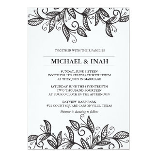 doodle swirl leaves 13 cm x 18 cm invitation card