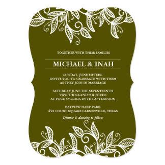 doodle swirl leaves 13 cm x 18 cm invitation card