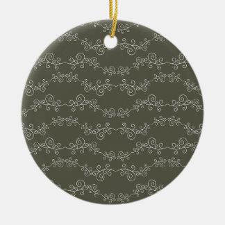 doodle swirl round ceramic decoration