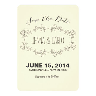 doodle swirl save the date 5x7 paper invitation card