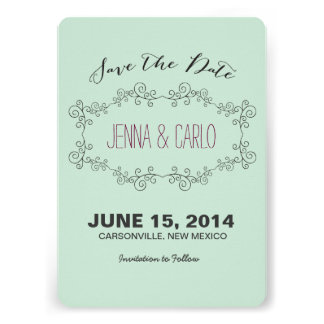 doodle swirl save the date custom announcement