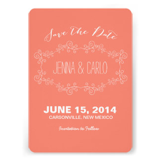 doodle swirl save the date personalized invites