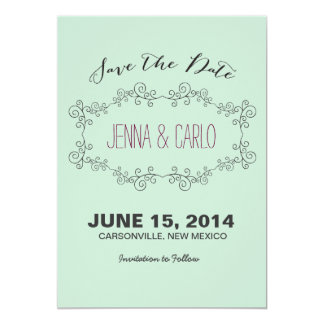 doodle swirl save the date invite