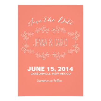 doodle swirl save the date 13 cm x 18 cm invitation card