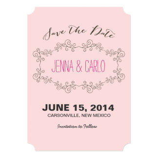 "doodle swirl save the date 5"" x 7"" invitation card"