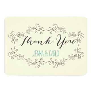 doodle swirl thank you 13 cm x 18 cm invitation card