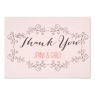 doodle swirl thank you 13 cm x 18 cm invitation card